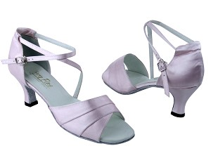 "1659 233 Light Pink Satin with 2.5"" Low Heel in the photo"