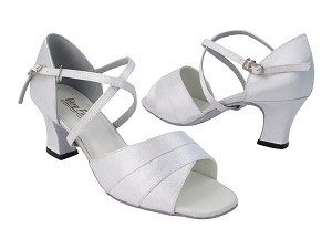 1659 34 White Satin_X-Strap Arch with 2.2 inch Thick Cuban Heel (Heel Code 318) in the photo