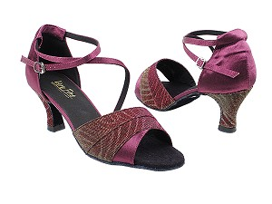 "1659 96 Red Illusion_H_111 Purple Satin with 2.5"" Heel in the photo"