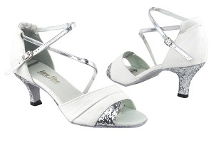 "1659 White Leather_7 Silver Sparkle_H_Silver Leather_S with 2.6"" Flare Heel in the photo"