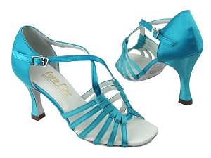 "1661 230 Light Blue Satin with 3.5"" Flare heel in the photo"