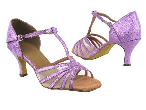 "16612 190 Purple Scale_Flesh Mesh_Brown Insole with 2.75"" Flare Heel in the photo"