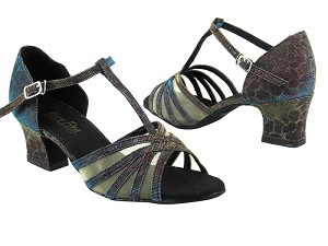 "16612 95 Blue Illusion_Flesh Mesh with 2"" Thick Cuban heel in the photo"