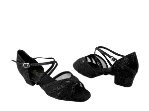 "1670C 165 Fabric (Lace Black Scale) with 1.5"" Medium Heel in the photo"