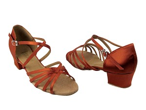 "1670C 182 Orange Tan Satin with 1.5"" Medium Heel in the photo"