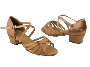 "1670C 81 Brown Satin with 1.5"" Medium Heel in the photo"