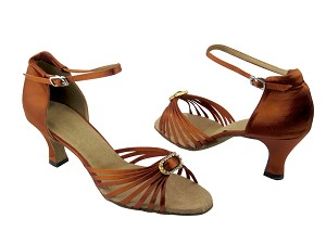 "1671B 182 Orange Tan Satin & Stone with 2.5"" Low Heel in the photo"