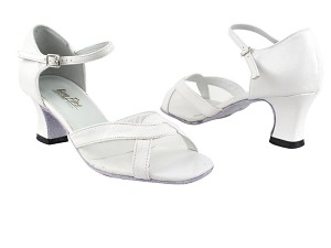 "1675 White Leather_White Mesh with 2.2"" Thick Cuban Heel in the photo"
