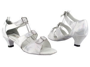 "1679 86 Silver Laser Satin with 1.3"" Cuban Heel in the photo"