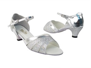 "1680 6 Silver Sparklenet_3S_H_55 Silver PU with 1.3"" cuban heel in the photo"