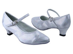 "1682 86 Silver Laser Satin with 1.3"" Heel in the photo"