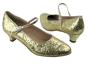 "1682 Gold Sparkle with 1.3"" Cuban heel in the photo"