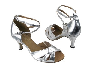 "1682F_Factory_Silver Leather with 2.6"" Flare heel in the photo"