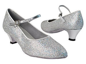 "1682_3008 6 Silver Sparklenet with 387_1.3"" Cuban Heel in the photo"