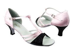 "1683 12 Black Sparkle_H_233 Light Pink Satin with 2.5"" low heel in the photo"