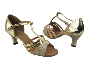 "1683 125 Gold Stardust & Gold Leather with 2.5"" Low Heel in the photo"