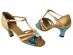 "1683 188 Light Blue Sparkle & 135 Light Brown Satin with 2.5"" Low Heel in the photo"
