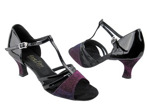 "1683 Purple Illusion & Black Patent with 2.5"" Low Heel in the photo"