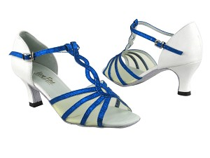 "1692 234 Blue Stardust_White Leather_B_Flesh Mesh with 2.5"" Heel in the photo"