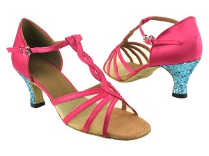 "1692 246 Pink Satin_188 Light Blue Sparkle_H_Flesh Mesh with 2.5"" low heel in the photo"