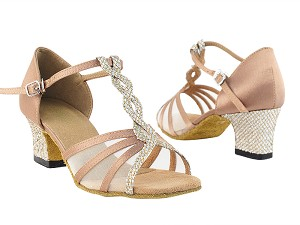 "1692 74 Gold Sparklenet_T_H_81 Brwon Satin_S_B_Flesh Mesh with 2"" Thick Cuban Heel in the photo"