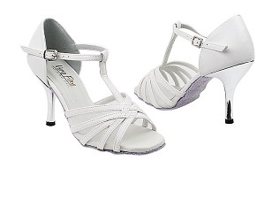 "1692 White Leather_White Mesh_3_slim with 3"" Slim Silver Plated Heel in the photo"