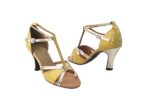 "1696 173 Light Gold Scale_226 Snake Gold_T_S_H without Arch Strap with 3"" Heel in the photo"