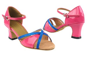 "1740 260 Pink Patent_234 Blue Stardust Trim_2709 BackStrap with 2.2"" Thick Cuban Heel in the photo"
