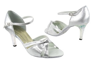 "1748 259 Silver Satin with 3"" Square Transparent Heel in the photo"