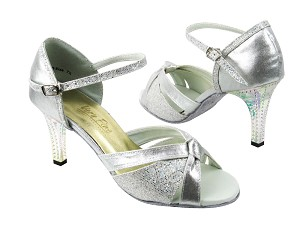 1748 259 Silver Satin_107 Silver Scale with 3 Square Transparent Heel in the photo
