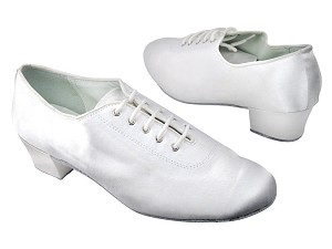 "2001 White Satin with 1.5"" Medium heel in the photo"