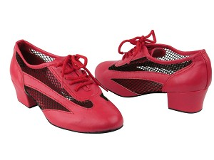 "2009 Red Leather_Black Mesh with 1.5"" Medium heel in the photo"