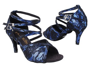 2630LEDSS 183 Black Lace Dark Blue PU_2.75 inch Stiletto Heel