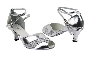 "2701 55 Silver PU_6 Silver Sparklenet Trim with 2.5"" Heel in the photo"