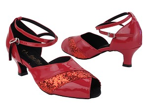 "2701LEDSS 131 Red Patent_27 Red Sparkle Trim with 2.5"" Heel (2899) in the photo"