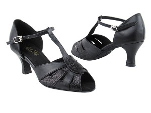 "2702 127 Black Stardust_Black Leather with 2.5"" Heel in the photo"