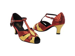 "2702 173 Light Gold Scale_H_285 Red Scale with 2.5"" low heel in the photo"