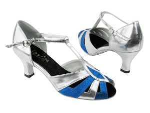 "2702 234 Blue Stardust_Silver Leather_Black Insole with 2.5"" Low heel in the photo"