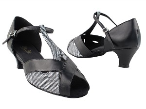 "2703 97 Black Sparklenet_Black Leather with 1.3"" Cuban Heel in the photo"