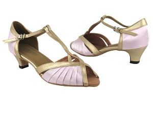"2707 233 Light Pink Satin_57 Light Gold PU Trim with 1.3"" Heel in the photo"