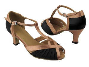 "2707 Black Satin_Brown Satin Trim with 2.5"" Low heel in the photo"