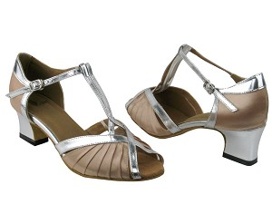 "2707 Light Brown Satin_Silver PU Trim with 2"" Thick Cuban heel in the photo"