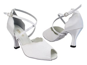 "2708 34 White Satin with 3"" Heel (6812) in the photo"