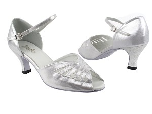"2709 259 Silver Satin with 2.5"" Heel in the photo"