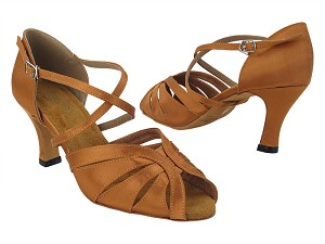 "2713 236 Dark Tan Satin_X-Strap Arch with 3"" Heel (6812) in the photo"