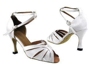 "2713 White Satin with 3.5"" Heel in the photo"