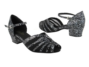 "2719 102 Black Flower Satin_Black Mesh with 1.5"" Medium Heel in the photo"