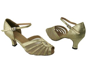 "2719 174 Light Gold Stardust & Flesh Mesh with 2.5"" Low Heel in the photo"