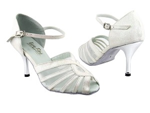 2719 183 White Stardust_White Mesh_3in Slim Silver Plated Heel