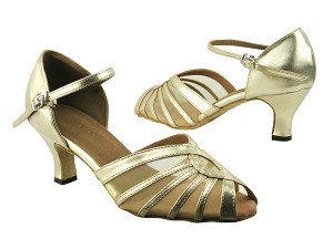 "2719 209 Flesh Gold PU_Flesh Mesh with 2.5"" low heel in the photo"